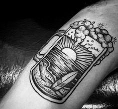 Brew up ink inspiration with the top 60 best beer tattoo designs for men. Explore cool hops, barley and wheat themed body art ideas.Beach Landscape Beer Tattoo Designs For Males Unique Tattoos, New Tattoos, Tattoos For Guys, Cool Tattoos, Diy Tattoo, Tattoo Set, Beach Theme Tattoos, Wheat Tattoo, Tatuaje Old School