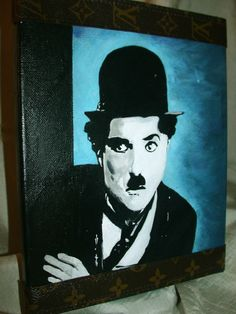 Charlie Chaplin Mixed Media iCONS Canvas Portrait Painting