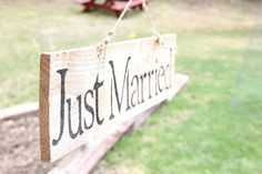 Just Married Hand Painted Wood Sign Rustic by RedCottageDesigns, $22.00