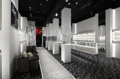 EVANCE luxury watch shop by Ichiro Nishiwaki Design Office, Tokyo – Japan watches luxury Jewelry Store Design, Retail Store Design, Retail Shop, Showroom Interior Design, H Hotel, Design Museum, Exhibit Design, Glass Boxes, Retail Space