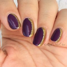 "Purple and gold are meant for each other! This is my first ""side French"" mani (if that's what they're called lol) and the beautiful purple is ""Dutch 'Ya Just Love OPI"" by @opi_products and I used gold stripers for the French. I love the simple elegance these have! ☺️"