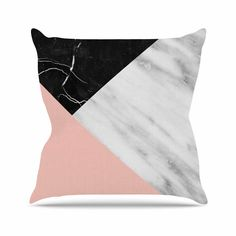 """Cafelab """"Marble Collage With Pale Pink """" Gray Pink Throw Pillow"""