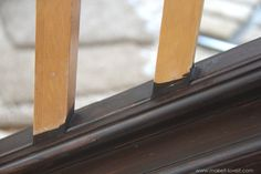 How to Paint / Stain Wood Stair Railings (Oak Banisters & Spindles) WITHOUT SANDING! Painted Stair Railings, Wood Railings For Stairs, Diy Stair Railing, Stair Banister, Interior Railings, Painted Staircases, Oak Stairs, Painted Stairs, Banisters