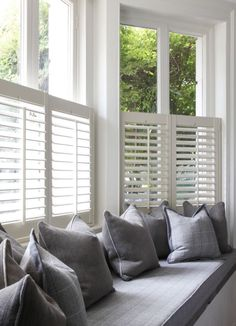 Bow window treatments Want to create a window seat in your bay window? Shutters are streamlined enou Bedroom Windows, Living Room Windows, Bedroom Curtains, Diy Bedroom, Blinds Curtains, Bay Window Blinds, Living Rooms, Window Privacy, Shutter Blinds