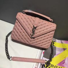 2017 Spring/Summer YSL Medium Monogram Studded Satchel in Pink Mixed Leather