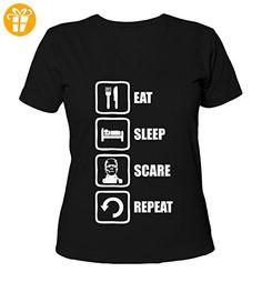 Eat Sleep Scare Repeat Frankenstein Monster Graphic Design Women's V-Neck T-Shirt Large (*Partner-Link)