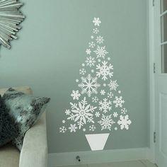 décoration sapin de noël alternatif bois déco étoile noel idée sticker mural