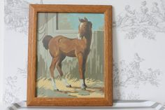 Vintage paint by numbers framed horse painting by MossAndBerry, $26.00