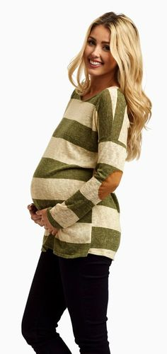 This striped knit maternity top is the perfect casual wear essential this season. More than your average knit top, a classic striped print and suede elbow make this maternity top stand out from the rest.