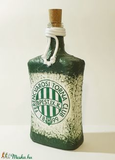 Ftc röviditalos dísz- és használati llapos üveg focirajongói ajándék férjeknek, barátoknak, rokonoknak, kollegáknak. (Biborvarazs) - Meska.hu Vodka Bottle, Drinks, Drinking, Beverages, Drink, Beverage