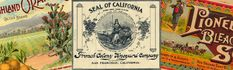 California's Old Series Trademarks at the State Archives. California Room, Vintage World Maps