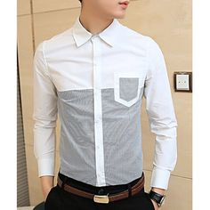$14.95 Fashionable Shirt Collar One Pocket Stripes Splicing Long Sleeves Polyester Shirt For Men