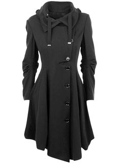 Modern Button Closure Asymmetrical Hem Black Coat - OASAP.com