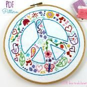 Peace Sign Hand Embroidery Pattern  - via @Craftsy