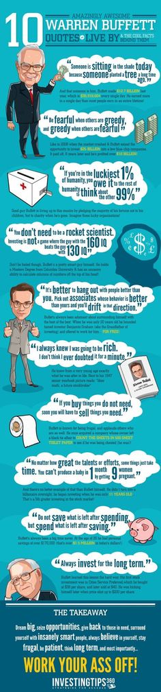 GEM Passive Income News : Photo Warren Buffett Quotes – Wisdom From a Billionaire Informative infographic produced by Investingtips360, the comment below is done by Shelby Nousain; If there's one person you'll want to take investing or financial advice from, it's Warren Buffett. He's one of the richest men on the planet, and one of the most successful businessmen of all time. He's got a net worth of about $63 Billion, and when he speaks the wo