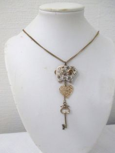 Shepherd of My Heart Upcycled Long Brass Necklace with Sheep, Heart, and Key Charm by DeadPoetAccessories on Etsy