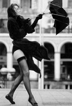 Windy day - windblown umbrella & stockings