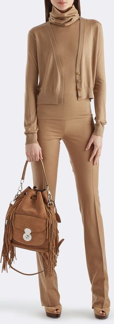 Elegant camel-colored cropped cardigan rom Ralph Lauren Collection: With a deep V-neckline, this cardigan is an updated version of a timeless style. Layer the luxuriously lightweight cashmere-and-silk sweater over turtlenecks or tank tops.