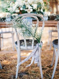 Ribbon and Greenery on Chair | photography by http://www.michaelandcarina.com/