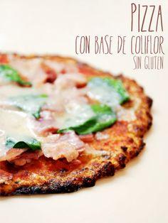 Pizza con base de Coliflor Sin Gluten / Cauliflower Pizza Crust Gluten Free