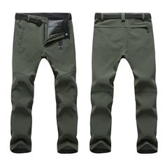 Mens Outdoor Soft Shell Fleece Lining Water-repellent Quick Dry Breathable  Climbing Sport Pants is warm 514b1ce469