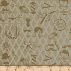 Barber Shop Moustache Men Natural from @fabricdotcom  Designed by Bristol Bay Studios for Benartex, this manly barber-shop themed collection is perfect for quilting, apparel, and home decor accents. Colors include beige and tan.