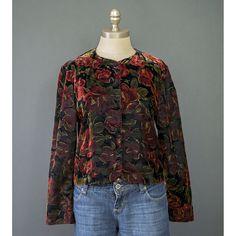 SALE - 80s Formal Jacket - Red Rose Print Black Velvet Jacket - 1980s Evening…