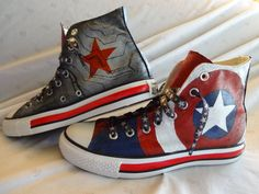 Hand Painted Captain America/Winter Soldier Shoes by AlterEgoShoes