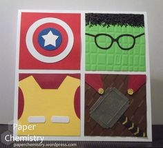 Avengers Birthday Card by Laurie Davenport Cricut Birthday Cards, Birthday Cards For Boys, Handmade Birthday Cards, Birthday Greeting Cards, Third Birthday, Boy Cards, Kids Cards, Men's Cards, Hand Made Greeting Cards