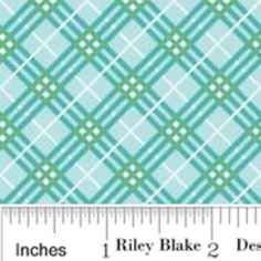 "Riley Blake - Collection: Hoos in the Forest - ""Plaid in Blue"""