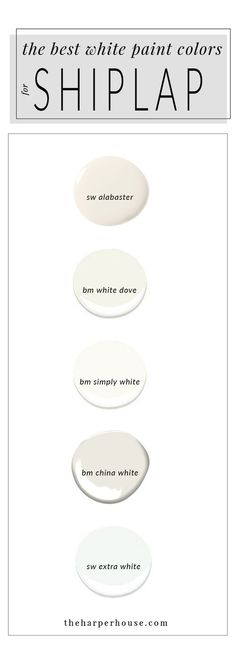 best white paint colors to paint shiplap; sherwin williams alabaster & www.theharperhous& Source by chellemarshall The post White Paint Colors: 5 Favorites for Shiplap Painting Shiplap, Painting Tips, House Painting, Painting Walls, Best White Paint, White Paints, China White Paint, White Trim Paint, Bm China White