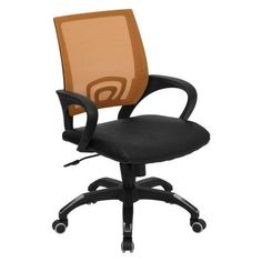 Mesh Office Chair with Leather Seat, Multiple Colors, Orange