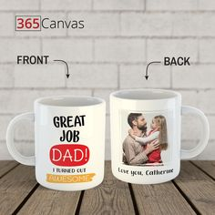 "If you want your dad to know what an awesome job he did of raising you, there's no better way to do it than with this hilarious photo mug featuring the quote, ""Great job, dad! I turned out awesome."" It perfectly captures just how amazing he was as a dad and will feature a lovely photograph of the two of you together. This custom photo mug would make the perfect gift for Father's Day or on Christmas.  #giftsforfather #giftsforhim #giftsformen#fathersday  #giftsforfathers"