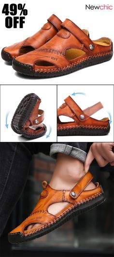 Men Hand Stitching Soft Outdoor Closed Toe Leather Sandals off] Menico Men Hand Stitching Soft Outdoor Closed Toe Leather Sandals # Men's Shoes # Sandals Mens Shoes Boots, Shoe Boots, Style Masculin, Mens Fashion Wear, Casual Shoes, Men Casual, Formal Shoes, Mens Clothing Styles, Loafer Shoes