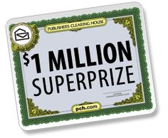 Winning Ticket To Publisher's Clearing House $1 MILLION SUPERPRIZE!!