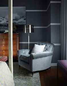 Painting walls stripes apartment therapy 69 ideas for 2019 Striped Walls Bedroom, Bedroom Wall, Bedroom Decor, Male Bedroom, Bedroom Ideas, Striped Painted Walls, Striped Walls Horizontal, Gray Bedroom, Gray Walls