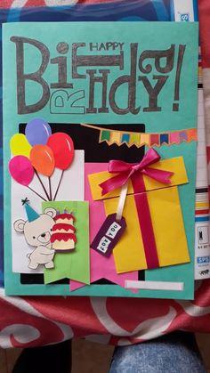 Happy Birthday Cards Handmade, Creative Birthday Cards, Birthday Cards For Friends, Bday Cards, Diy Cards For Friends, Happy Birthday Crafts, Diy Birthday Gifts For Friends, Friend Cards, Birthday Cards For Boyfriend