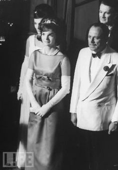 Jackie during her visit to Pakistan. President Ayub Khan is in that dapper white dinner jacket.