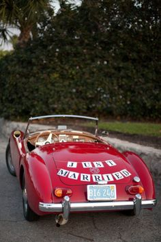 Red cabriolet vintage wedding getaway car | wedding | | wedding transportation | | wedding ideas | #wedding #weddingtransportation #weddingideas http://www.roughluxejewelry.com/