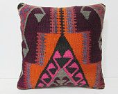 20x20 kilim pillow orange knitted pillow cover 20x20 pillow cover black decorative kilim pillow boho chic pillow kilim pillow case rug 26711