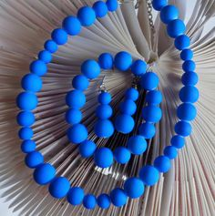 3Pc Set Cobalt Neon Blue Coated Jewelry Set, Royal Blue Glass Bead Necklace with…