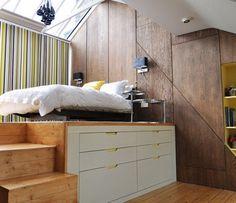 comment aménager une petite chambre à coucher -lit-rangements-plate-forme