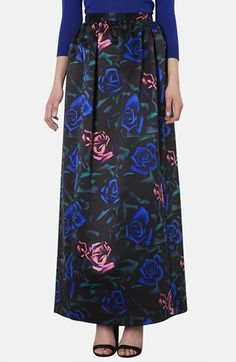 Topshop Rose Pattern Satin Maxi Skirt available at #Nordstrom