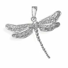 Dragonfly Pendant Rhodium Over Sterling Silver with Cubic Zirconia Accents Nontarnish, Pendant Only AzureBella Jewelry. $28.85. Gift boxed. .925 sterling silver plated with hard-wearing rhodium - same as white gold. Also available to purchase with chain included. Sparkling cubic zirconia