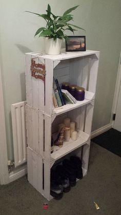 White apple crate shelf idea