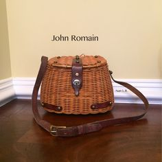 This is my John Romain fishing creel basket purse. I probably got it in the late 60s.