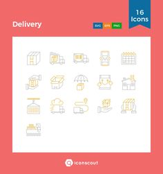 Delivery  Icon Pack - 16 Line Icons
