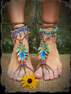 Cute modern hippie boho chic beaded sandals. FOLLOW http://www.pinterest.com/happygolicky/the-best-boho-chic-fashion-bohemian-jewelry-gypsy-/ for the BEST Bohemian fashion trends in clothing & jewelry.