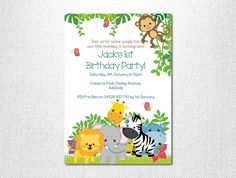 Jungle Birthday  Jungle Invitation  by LoveStoryInvitations