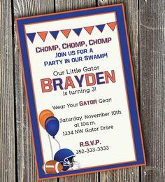 uf  birthday party | Gator – Orange and Blue Invitation | inspiration studio